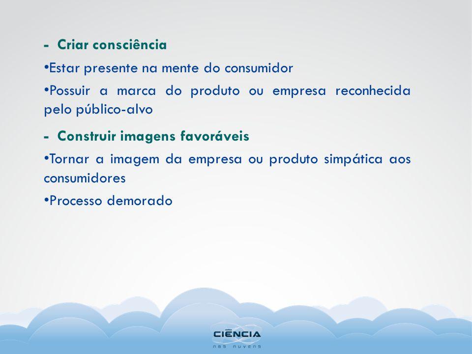 - Criar consciência Estar presente na mente do consumidor. Possuir a marca do produto ou empresa reconhecida pelo público-alvo.