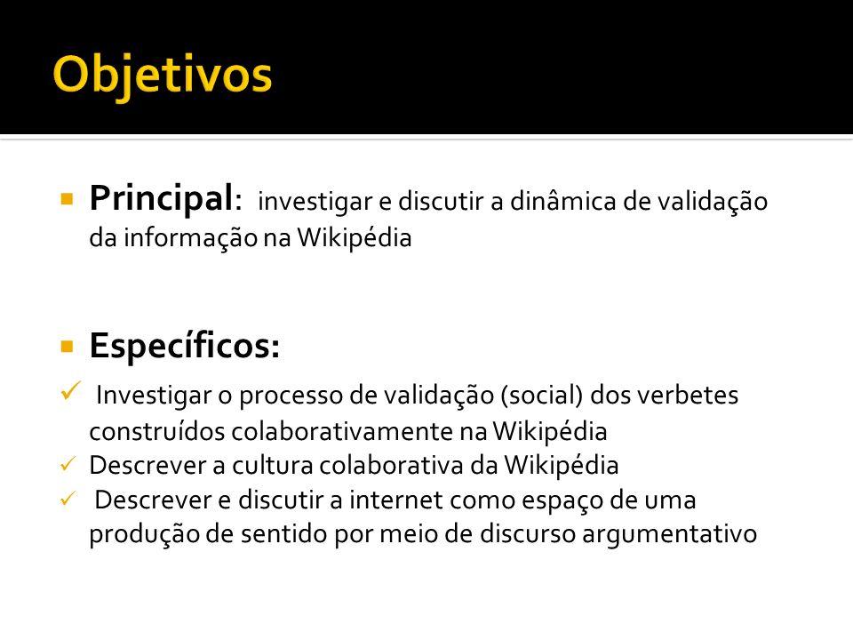 Objetivos Principal: investigar e discutir a dinâmica de validação da informação na Wikipédia. Específicos: