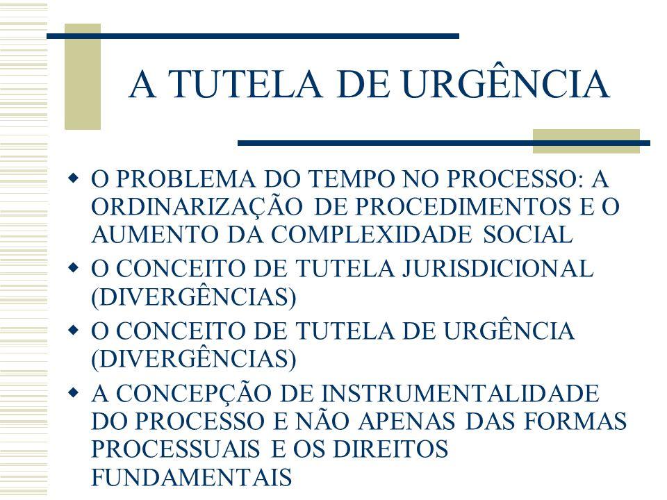 A TUTELA DE URGÊNCIA O PROBLEMA DO TEMPO NO PROCESSO: A ORDINARIZAÇÃO DE PROCEDIMENTOS E O AUMENTO DA COMPLEXIDADE SOCIAL.
