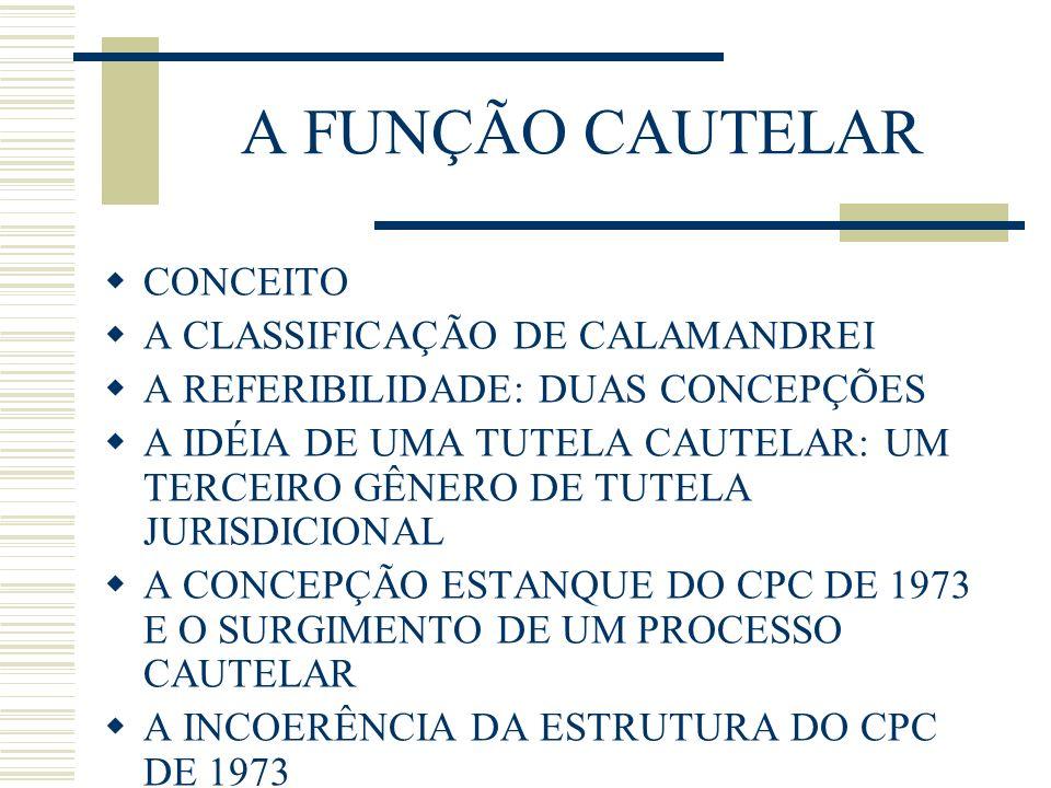 A FUNÇÃO CAUTELAR CONCEITO A CLASSIFICAÇÃO DE CALAMANDREI
