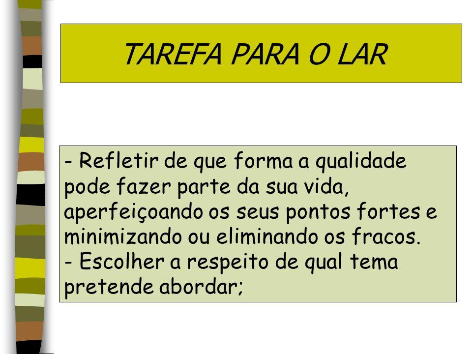 TAREFA PARA O LAR