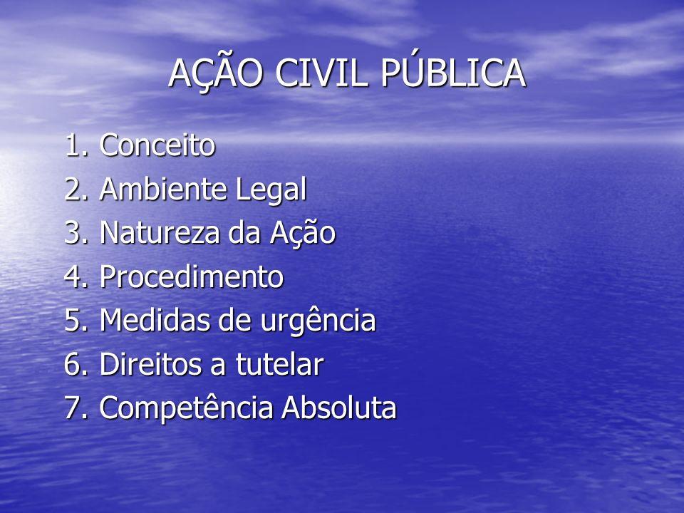 AÇÃO CIVIL PÚBLICA 1. Conceito 2. Ambiente Legal 3. Natureza da Ação