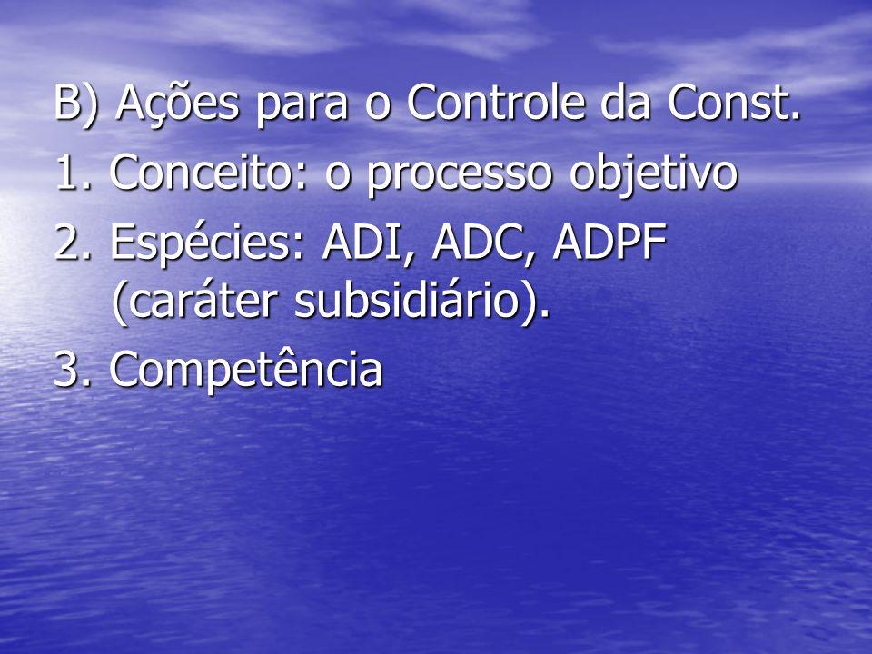 B) Ações para o Controle da Const.