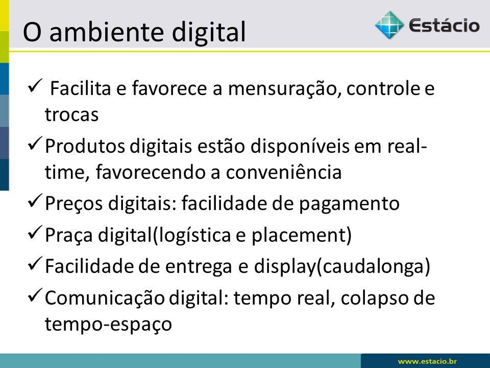 O ambiente digital Facilita e favorece a mensuração, controle e trocas
