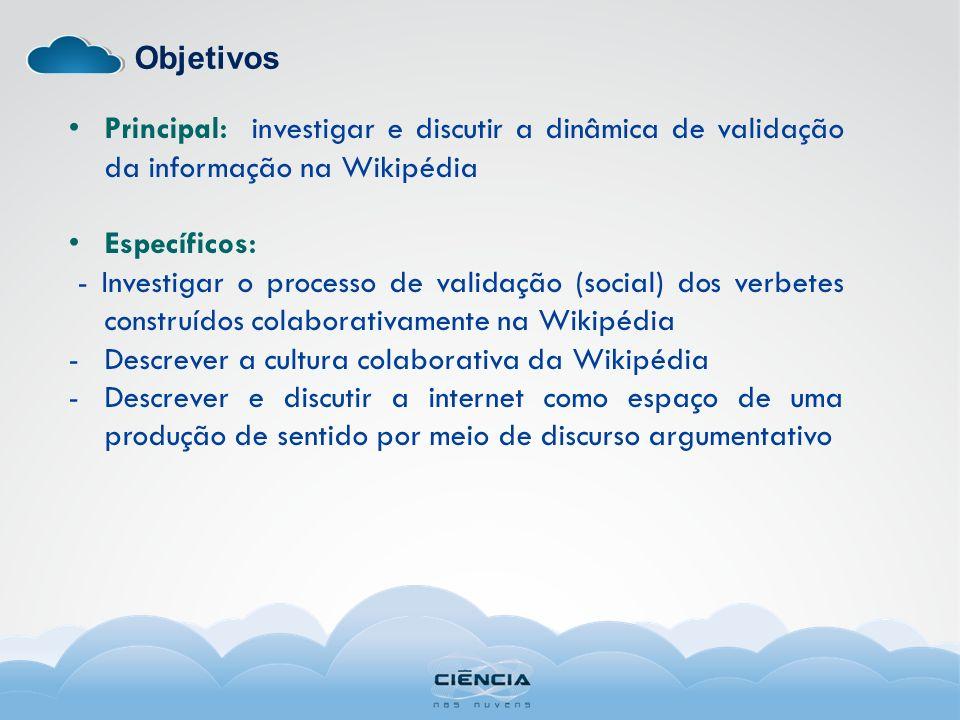 ObjetivosPrincipal: investigar e discutir a dinâmica de validação da informação na Wikipédia. Específicos: