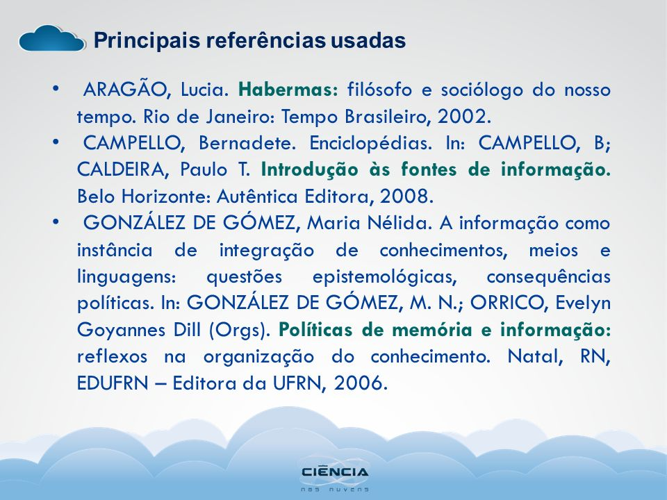 Principais referências usadas