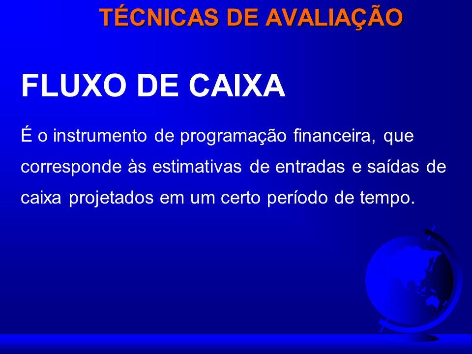 FLUXO DE CAIXA TÉCNICAS DE AVALIAÇÃO