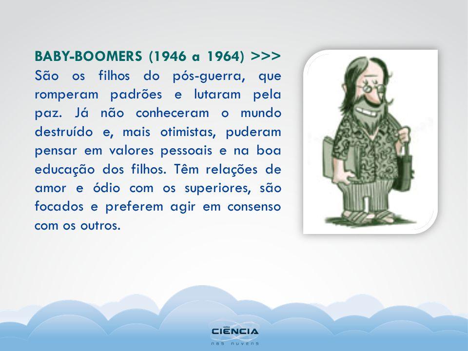 BABY-BOOMERS (1946 a 1964) >>> São os filhos do pós-guerra, que romperam padrões e lutaram pela paz.