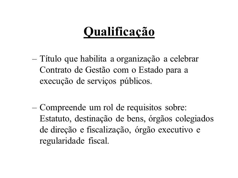 Qualificação Título que habilita a organização a celebrar Contrato de Gestão com o Estado para a execução de serviços públicos.