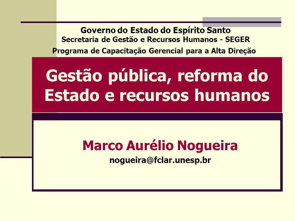 Gestão pública, reforma do Estado e recursos humanos