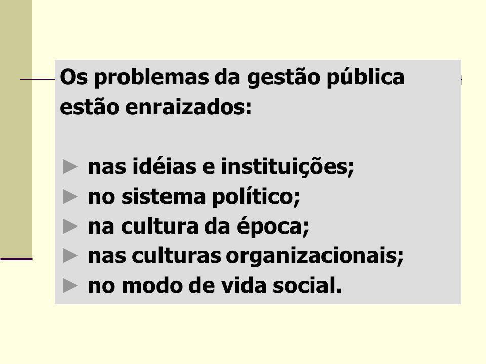 Os problemas da gestão pública estão enraizados: ► nas idéias e instituições; ► no sistema político; ► na cultura da época; ► nas culturas organizacionais; ► no modo de vida social.