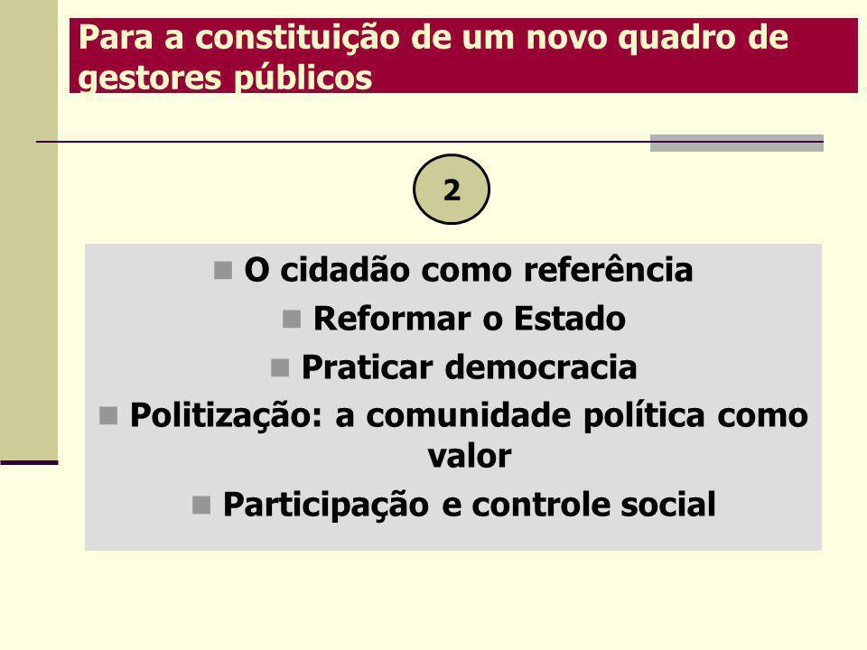 Para a constituição de um novo quadro de gestores públicos