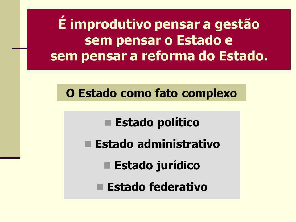 O Estado como fato complexo Estado administrativo