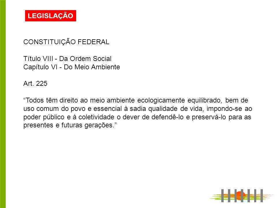 LEGISLAÇÃO CONSTITUIÇÃO FEDERAL. Título VIII - Da Ordem Social. Capítulo VI - Do Meio Ambiente. Art. 225.