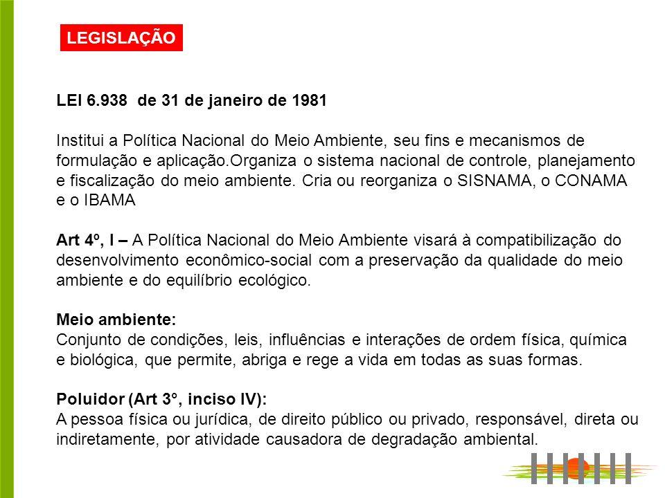 LEGISLAÇÃO LEI 6.938 de 31 de janeiro de 1981.