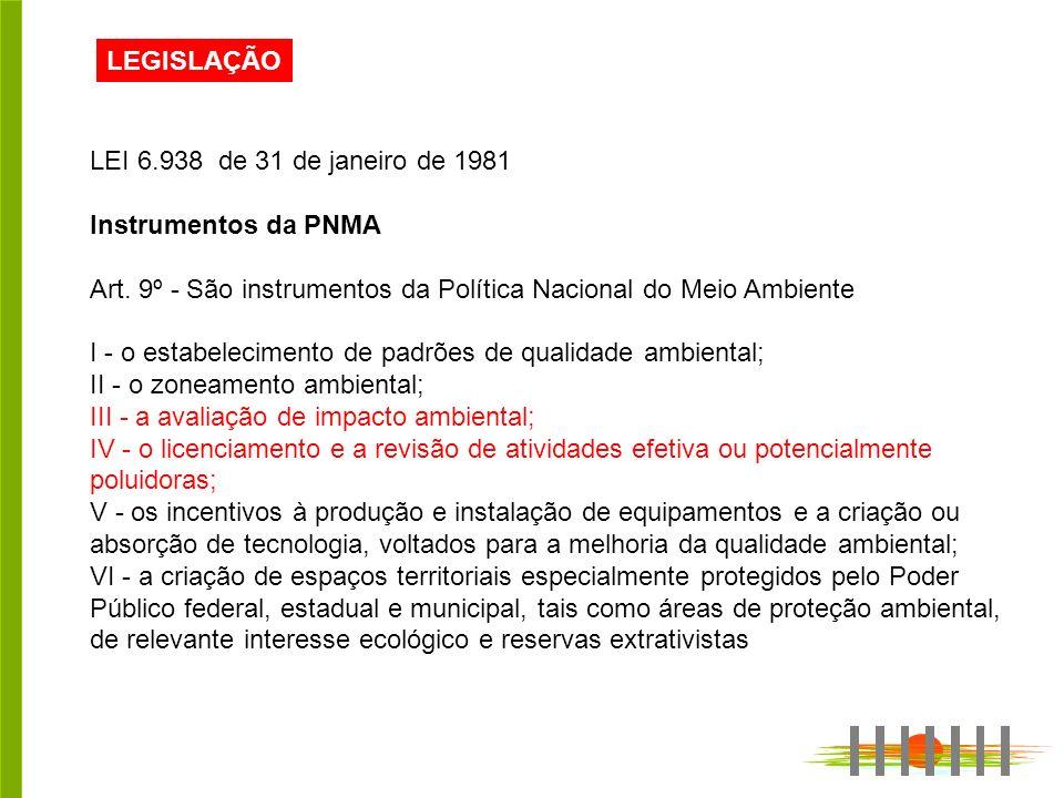 LEGISLAÇÃO LEI 6.938 de 31 de janeiro de 1981. Instrumentos da PNMA. Art. 9º - São instrumentos da Política Nacional do Meio Ambiente.