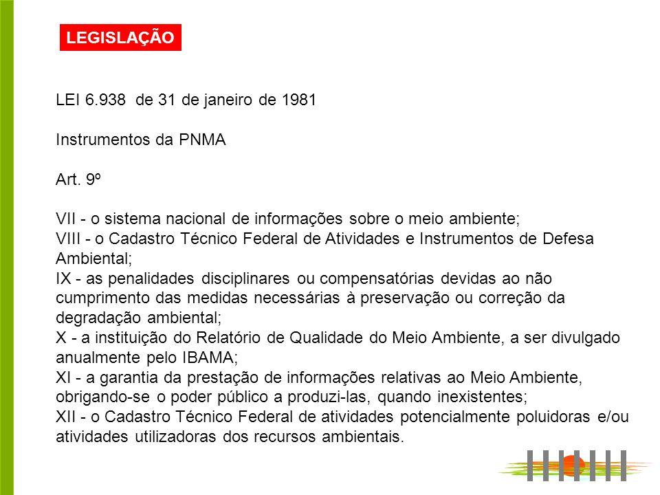 LEGISLAÇÃO LEI 6.938 de 31 de janeiro de 1981. Instrumentos da PNMA. Art. 9º. VII - o sistema nacional de informações sobre o meio ambiente;