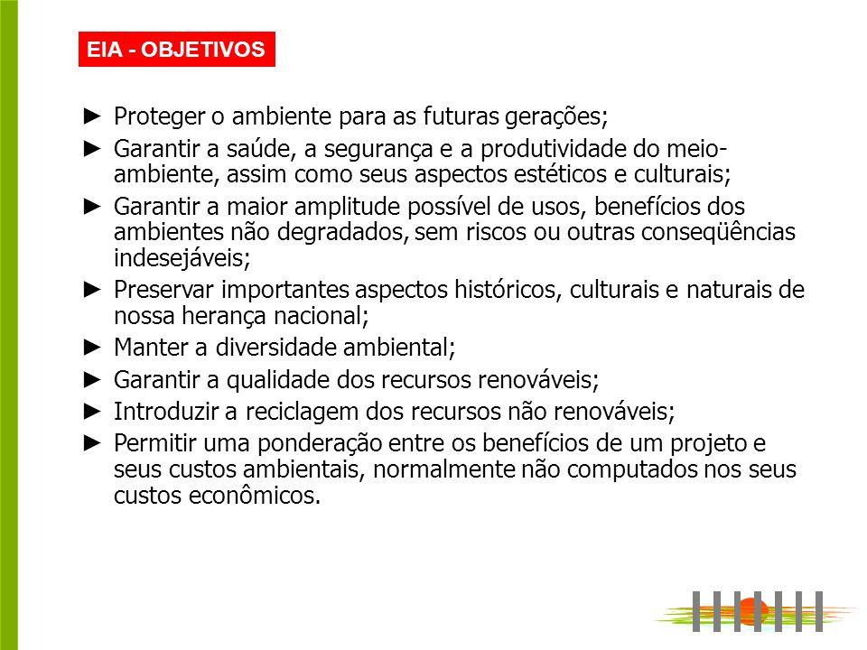 Proteger o ambiente para as futuras gerações;