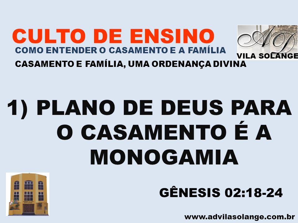 PLANO DE DEUS PARA O CASAMENTO É A MONOGAMIA