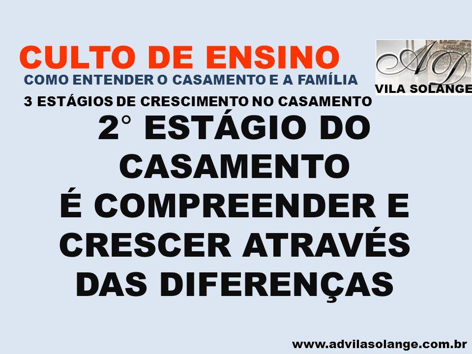 2° ESTÁGIO DO CASAMENTO É COMPREENDER E CRESCER ATRAVÉS DAS DIFERENÇAS