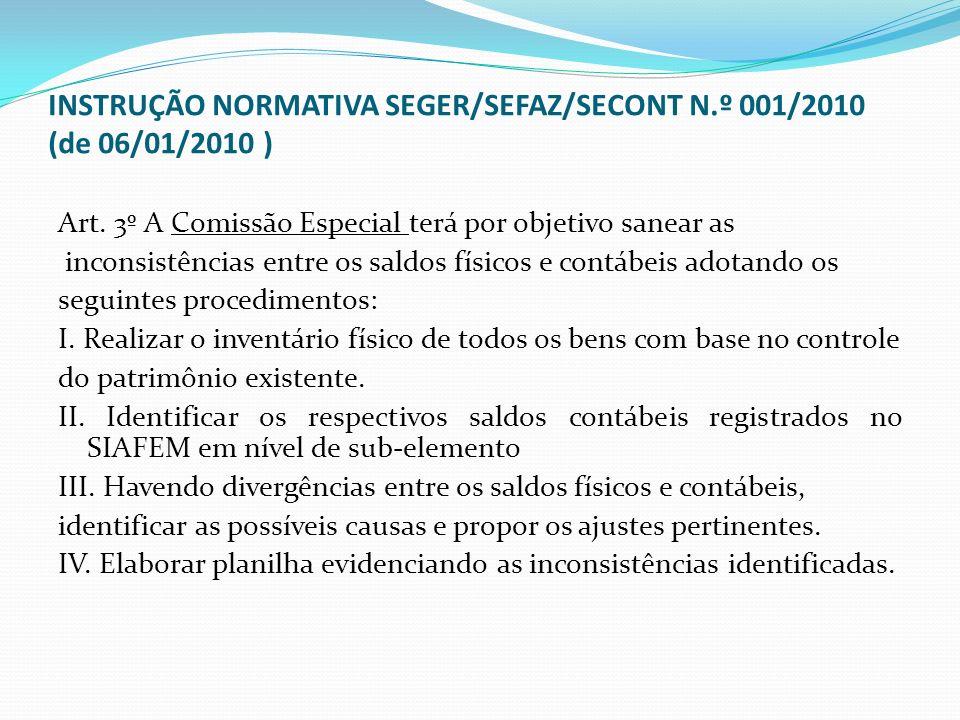 INSTRUÇÃO NORMATIVA SEGER/SEFAZ/SECONT N.º 001/2010 (de 06/01/2010 )