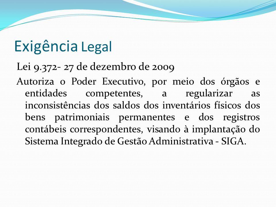Exigência Legal Lei 9.372- 27 de dezembro de 2009