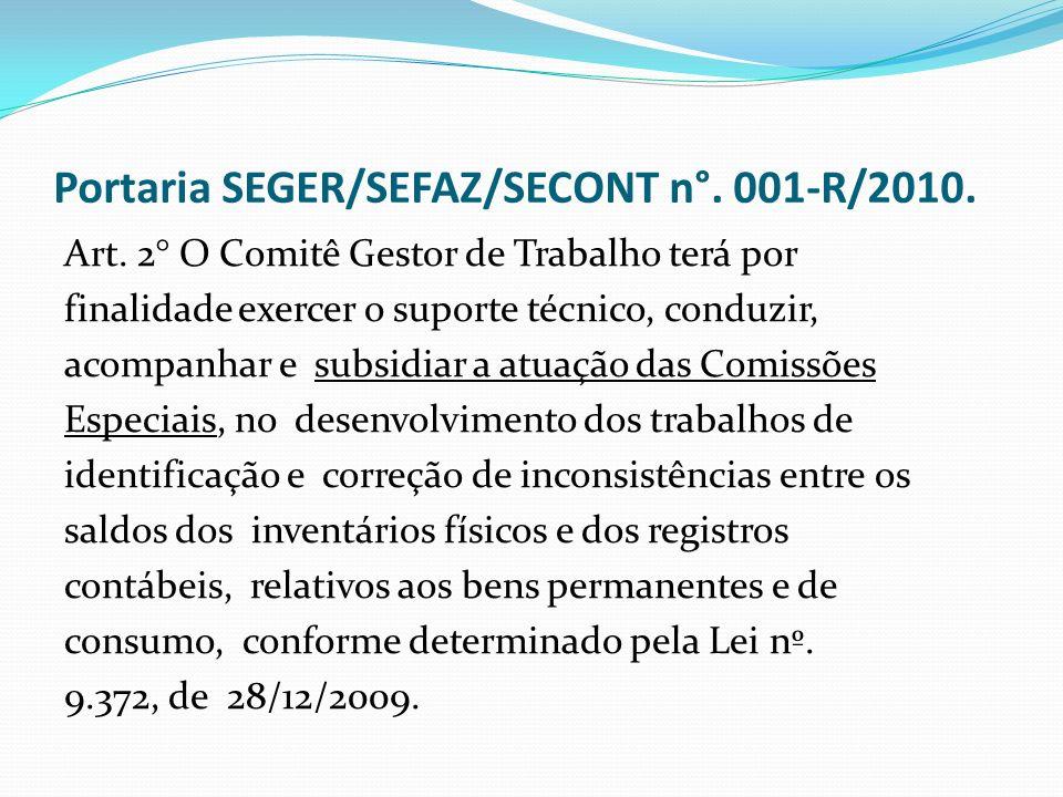Portaria SEGER/SEFAZ/SECONT n°. 001-R/2010.