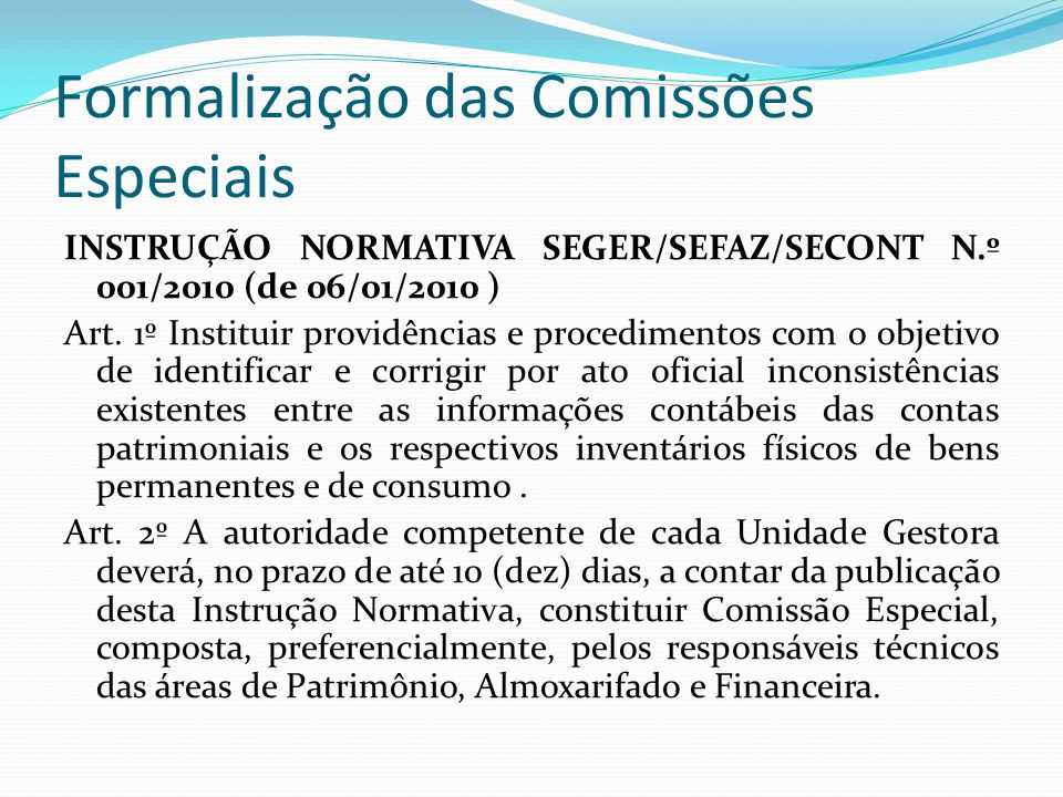 Formalização das Comissões Especiais