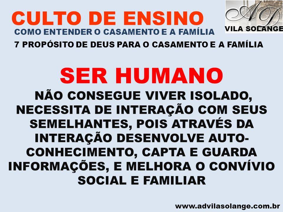 SER HUMANO CULTO DE ENSINO
