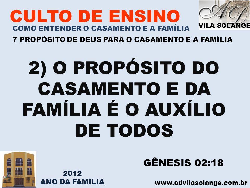 2) O PROPÓSITO DO CASAMENTO E DA FAMÍLIA É O AUXÍLIO DE TODOS