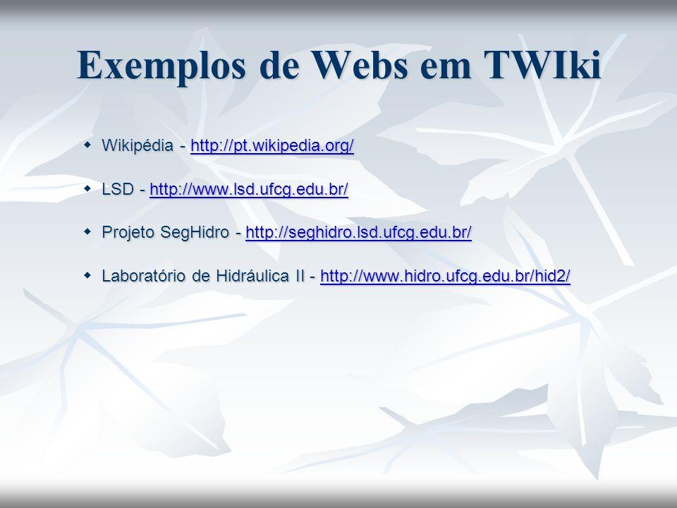 Exemplos de Webs em TWIki