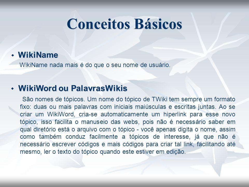 Conceitos Básicos  WikiName. WikiName nada mais é do que o seu nome de usuário.  WikiWord ou PalavrasWikis.