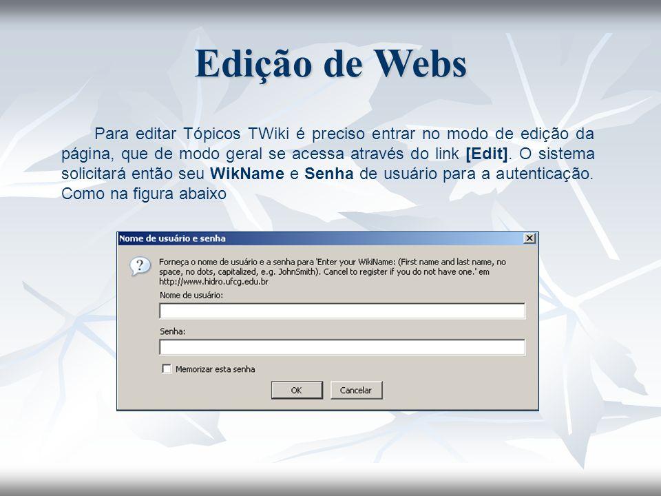 Edição de Webs