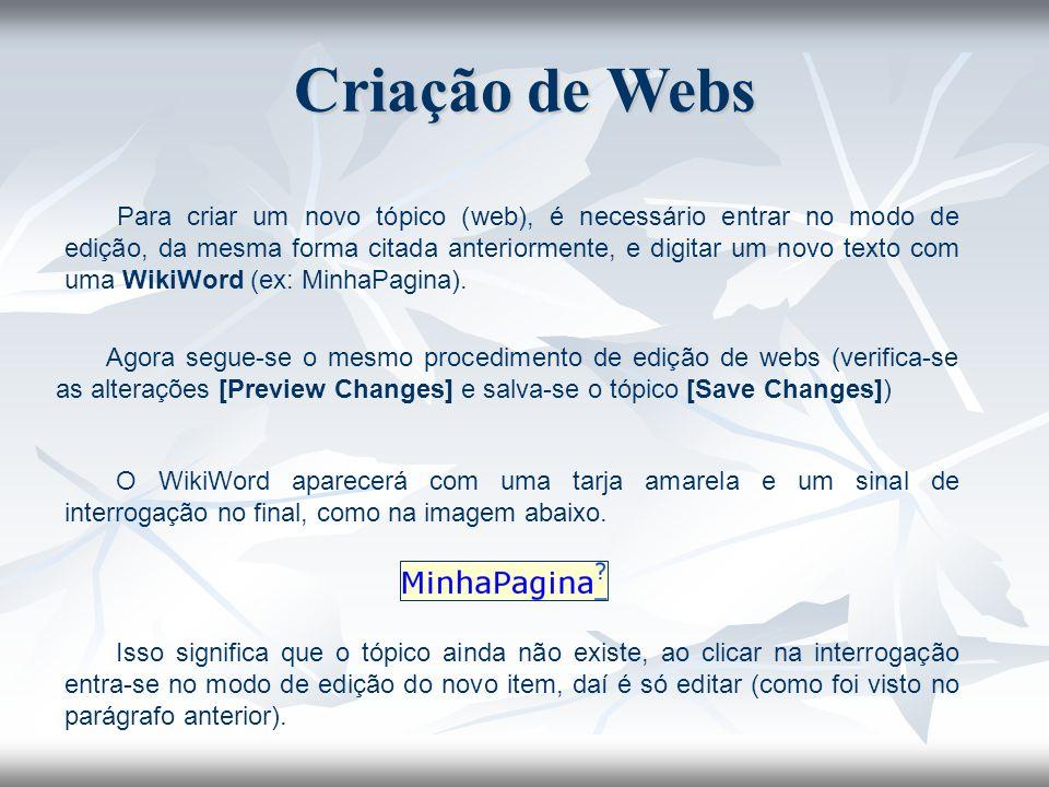Criação de Webs