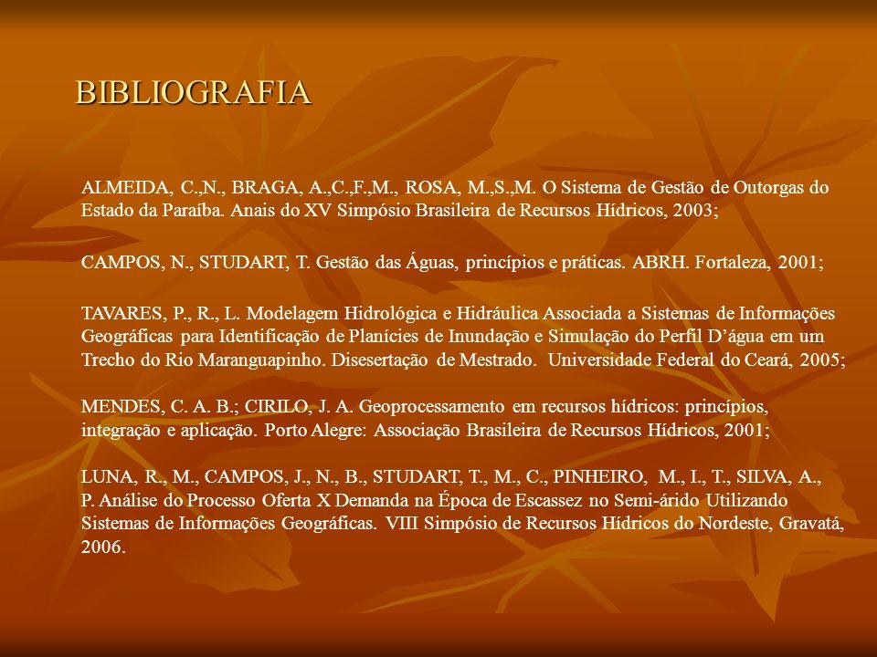 BIBLIOGRAFIA ALMEIDA, C.,N., BRAGA, A.,C.,F.,M., ROSA, M.,S.,M. O Sistema de Gestão de Outorgas do.