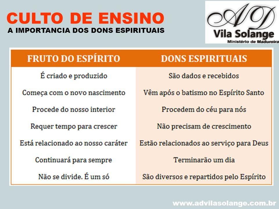CULTO DE ENSINO A IMPORTANCIA DOS DONS ESPIRITUAIS VILA SOLANGE