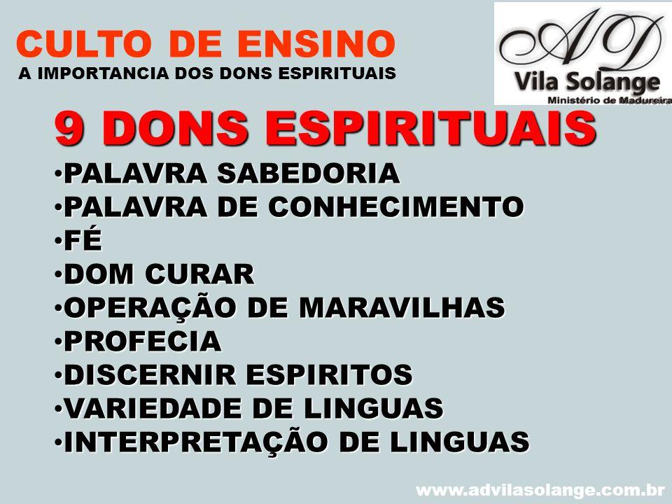 9 DONS ESPIRITUAIS CULTO DE ENSINO PALAVRA SABEDORIA