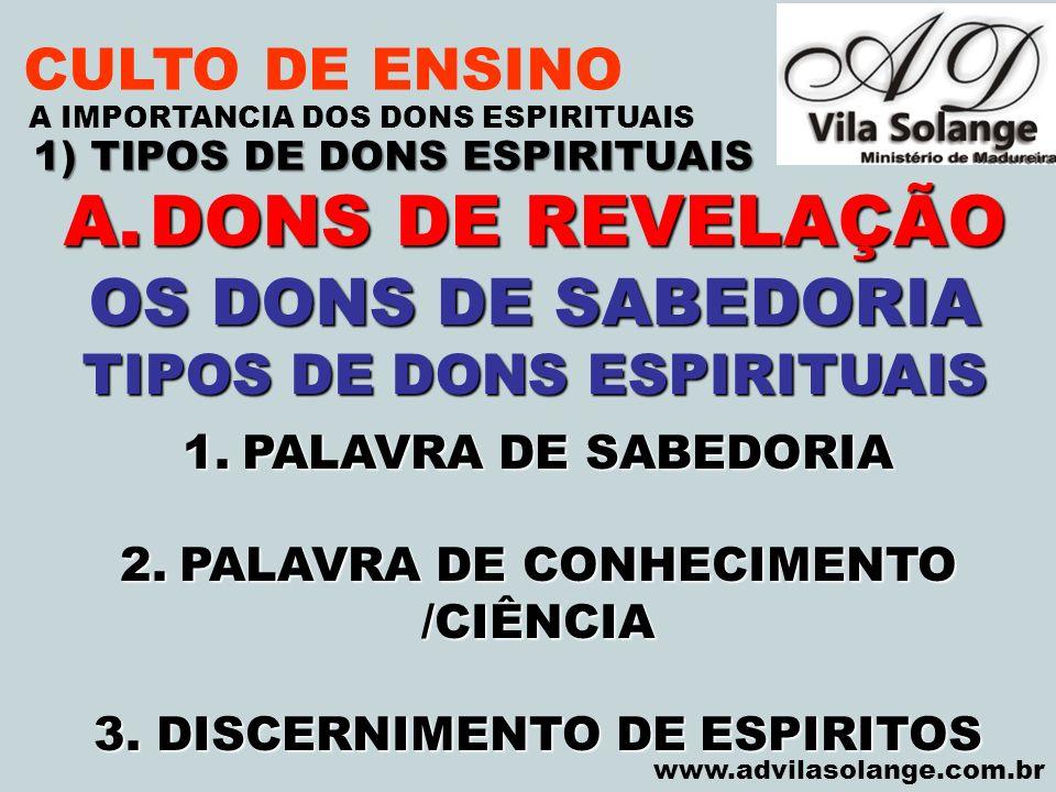 DONS DE REVELAÇÃO OS DONS DE SABEDORIA CULTO DE ENSINO