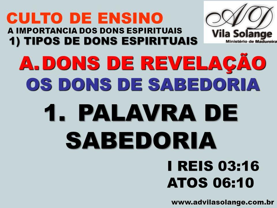 1) TIPOS DE DONS ESPIRITUAIS