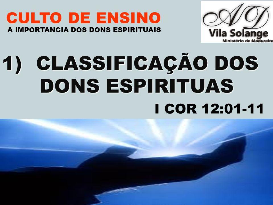 CLASSIFICAÇÃO DOS DONS ESPIRITUAS