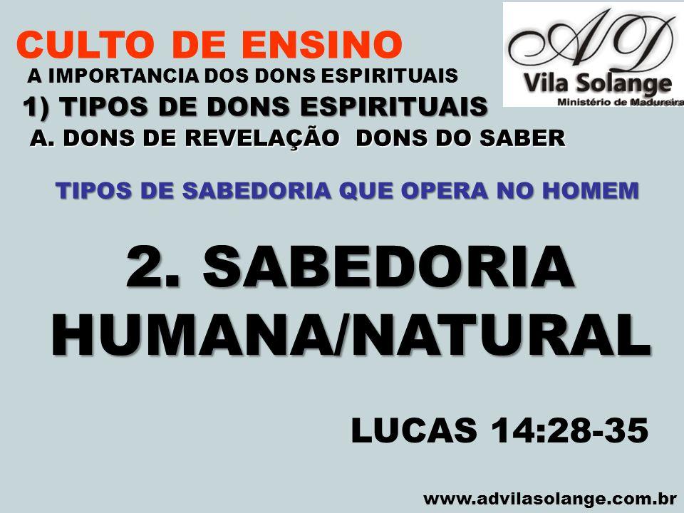 2. SABEDORIA HUMANA/NATURAL