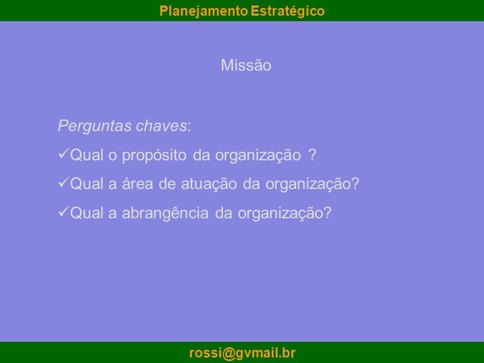 Missão Perguntas chaves: Qual o propósito da organização Qual a área de atuação da organização