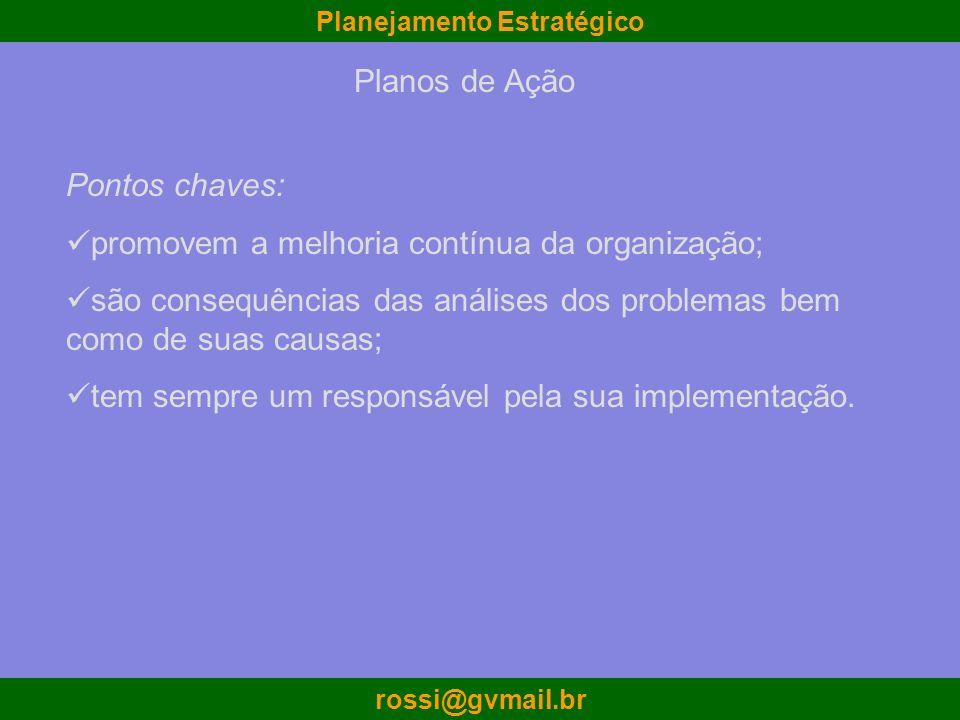 Planos de Ação Pontos chaves: promovem a melhoria contínua da organização; são consequências das análises dos problemas bem como de suas causas;