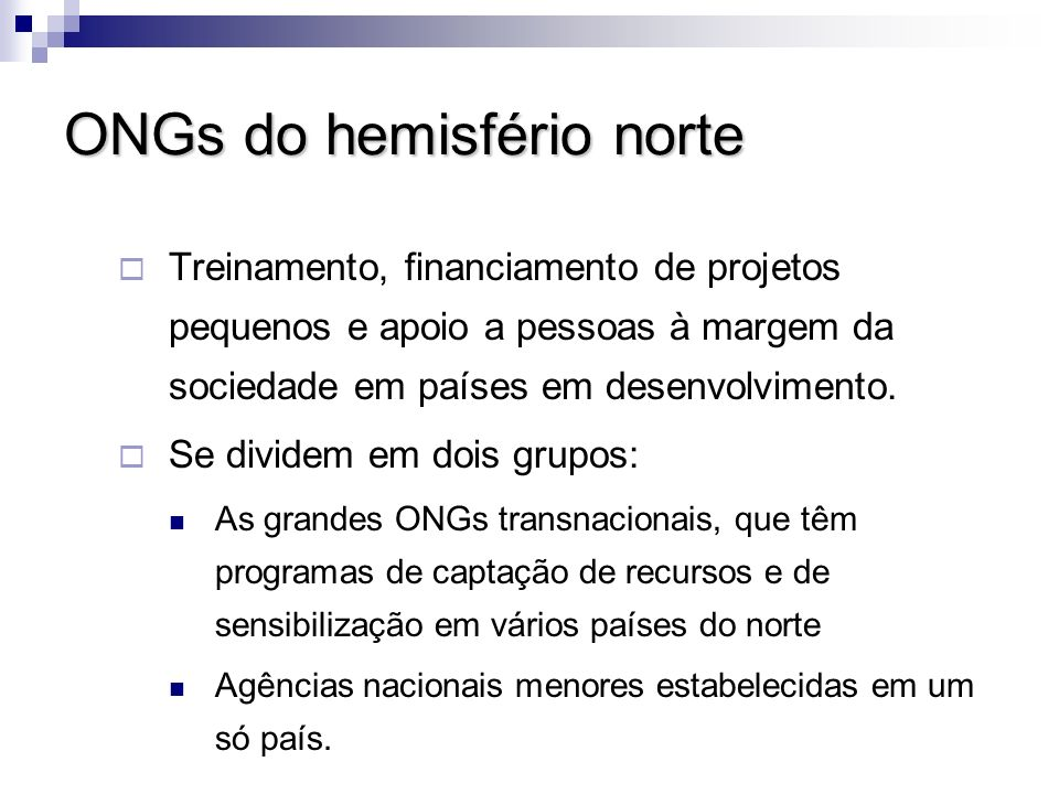 ONGs do hemisfério norte