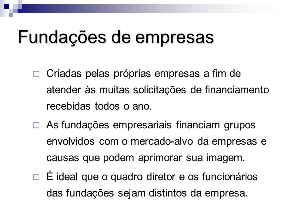 Fundações de empresasCriadas pelas próprias empresas a fim de atender às muitas solicitações de financiamento recebidas todos o ano.