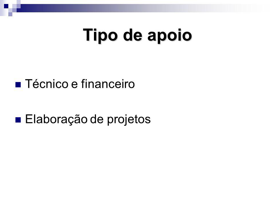 Tipo de apoio Técnico e financeiro Elaboração de projetos