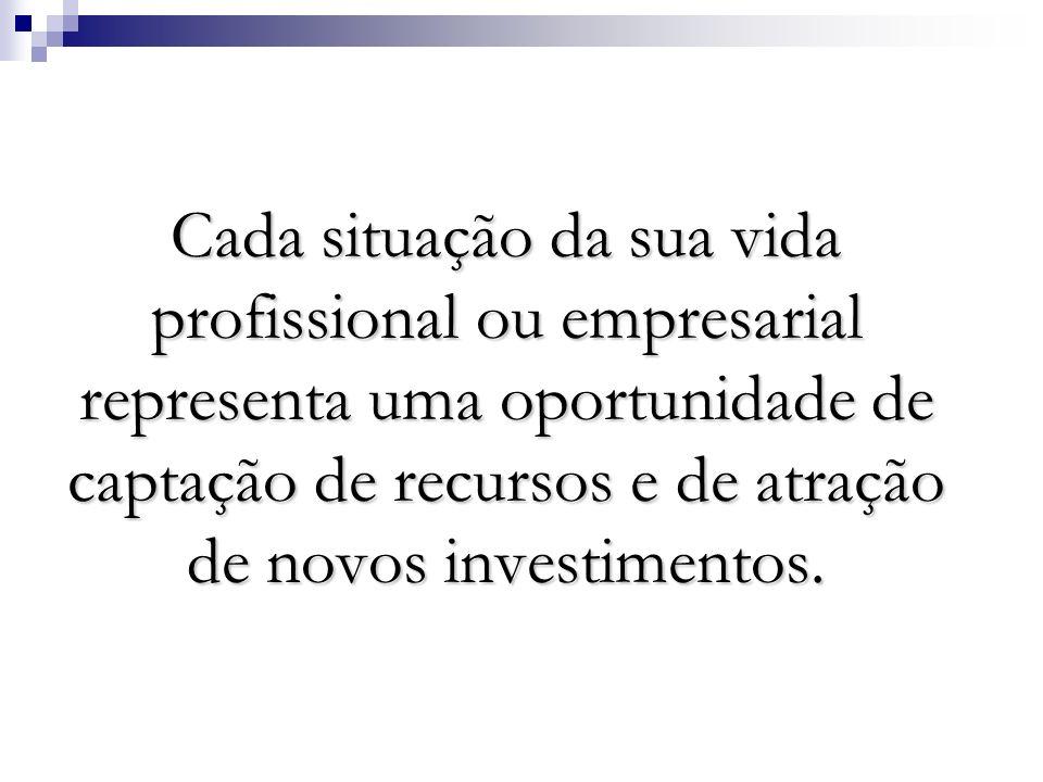 Cada situação da sua vida profissional ou empresarial representa uma oportunidade de captação de recursos e de atração de novos investimentos.