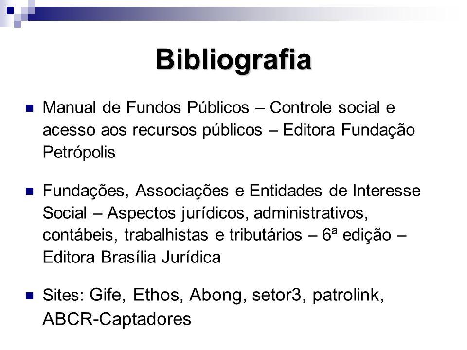 Bibliografia Manual de Fundos Públicos – Controle social e acesso aos recursos públicos – Editora Fundação Petrópolis.