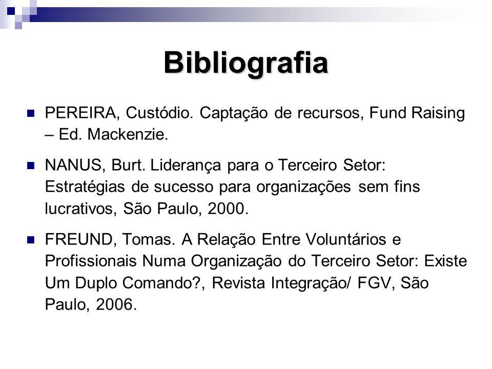 BibliografiaPEREIRA, Custódio. Captação de recursos, Fund Raising – Ed. Mackenzie.