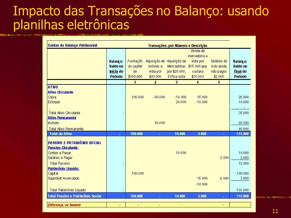 Impacto das Transações no Balanço: usando planilhas eletrônicas